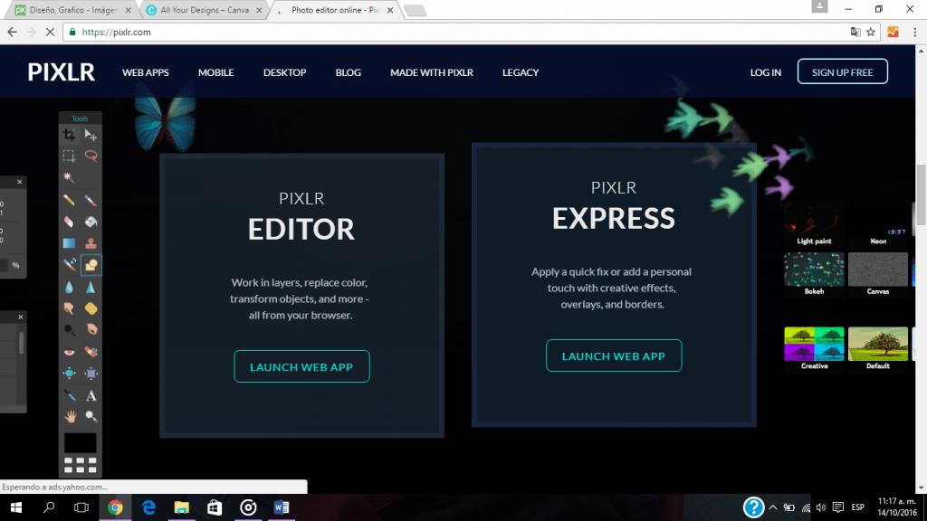 Si tienes conocimientos sobre manejo de programas de diseño profesionales, como Photoshop, Pixlr es una opción en línea y gratuita para diseñar como los grandes.