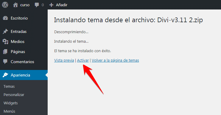 activar tema wordpress