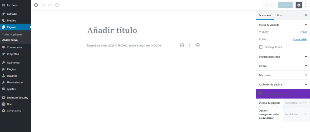 crear paginas en wordpress
