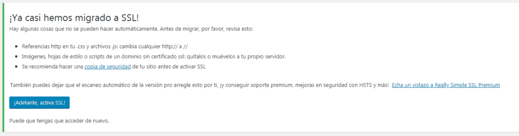 Activando Really Simple SSL 2