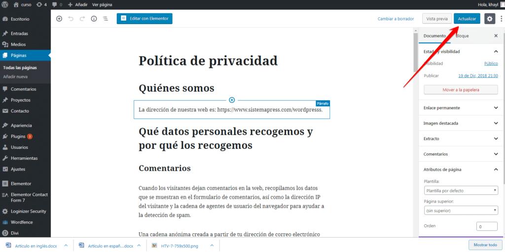 publicar privacidad