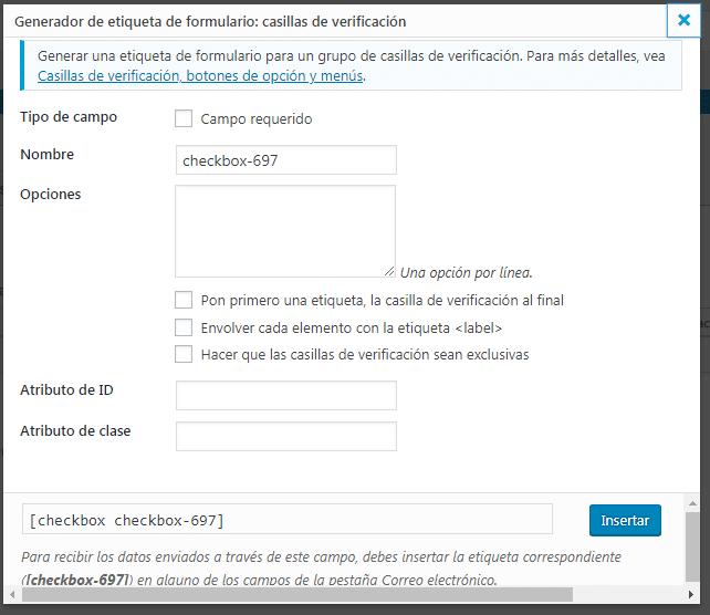 etiquetas configurando plugins de contacto
