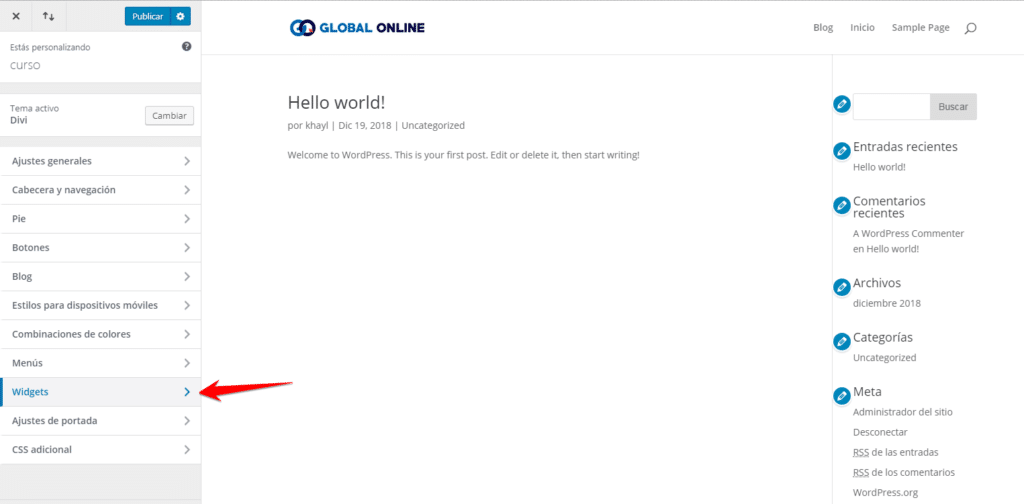 personalizar widgets