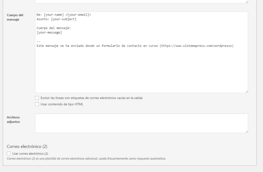 campo de mensaje plugins contacto
