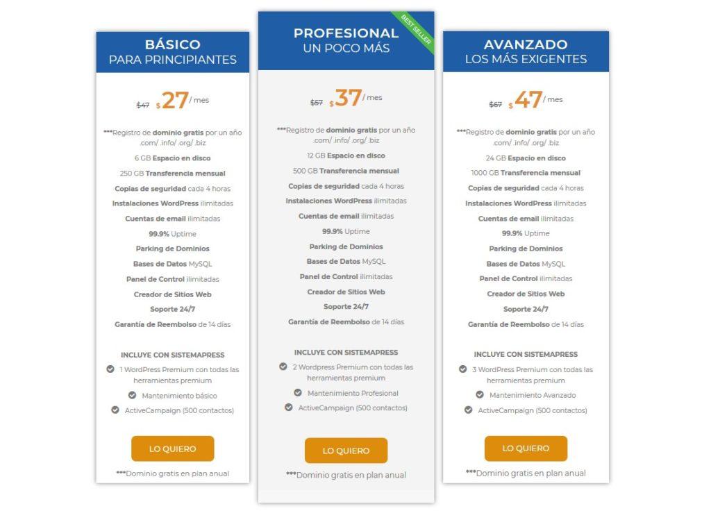 planes y precios sitios web/negocio online