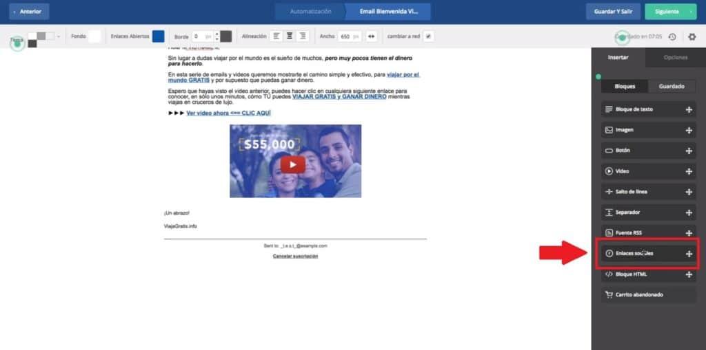 enlaces sociales email
