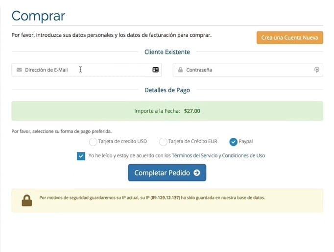 datos de acceso usuario registrado